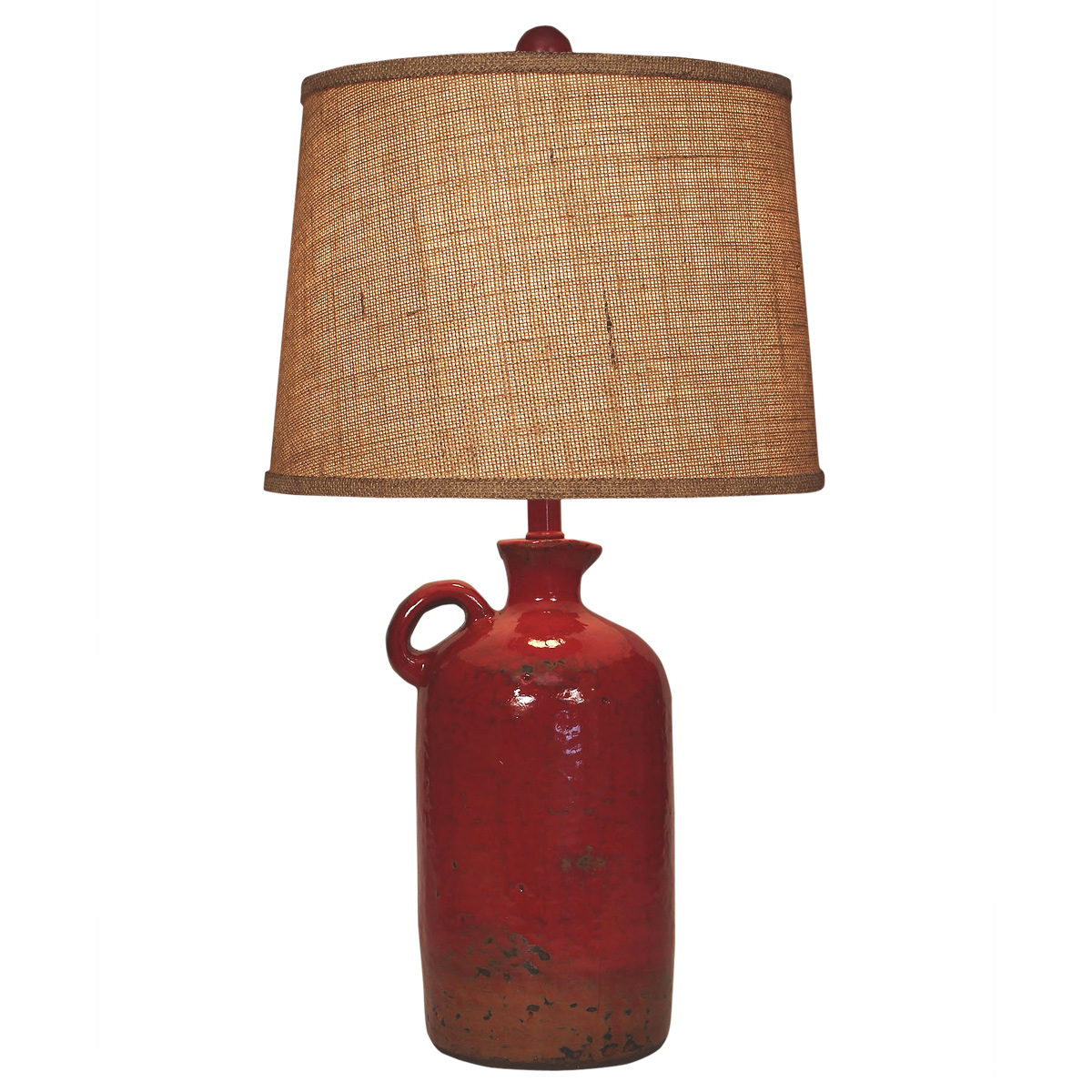 Firebrick Handled Jug Table Lamp