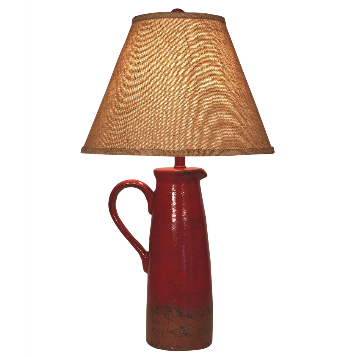 Firebrick Handled Pitcher Table Lamp