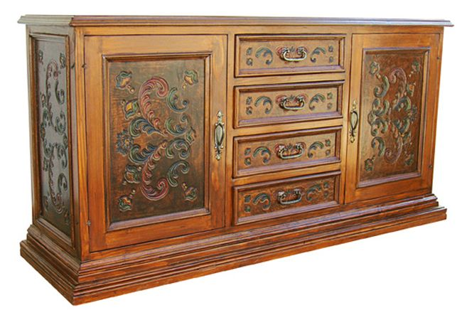 Fleur de Lys Painted Leather Large Buffet