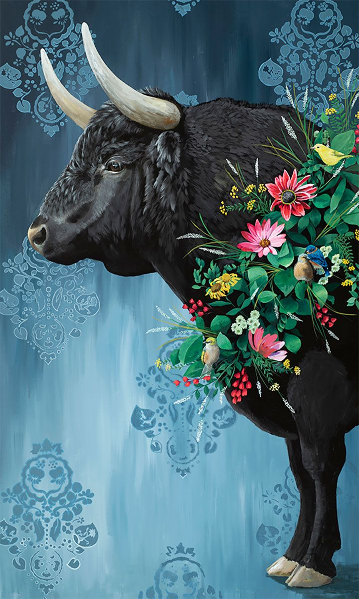 Floral Bull Canvas Wall Art