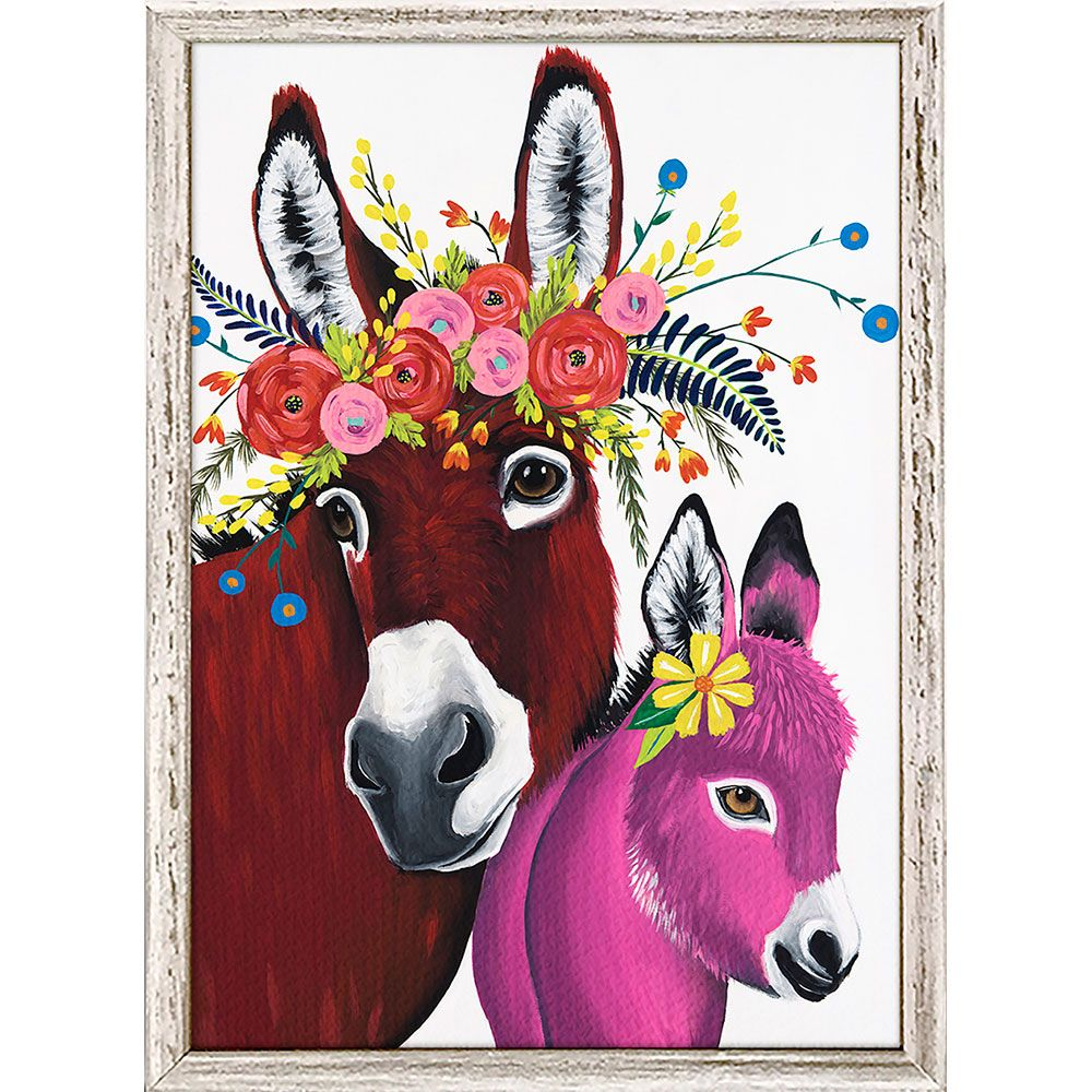 Floral Donkeys I Mini Framed Canvas