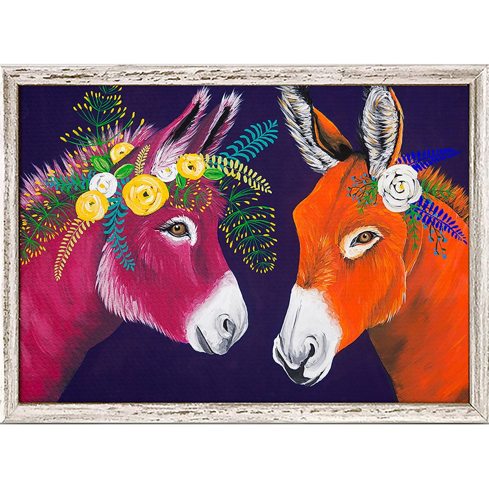 Floral Donkeys II Mini Framed Canvas