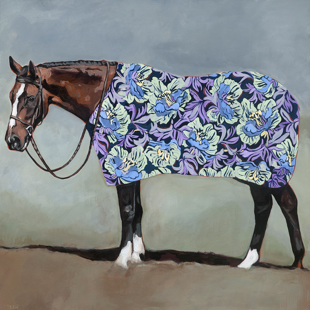 Floral Horse Canvas Art