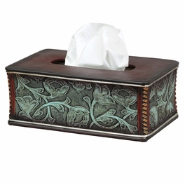 Floral Tooled Turquoise Tissue Box