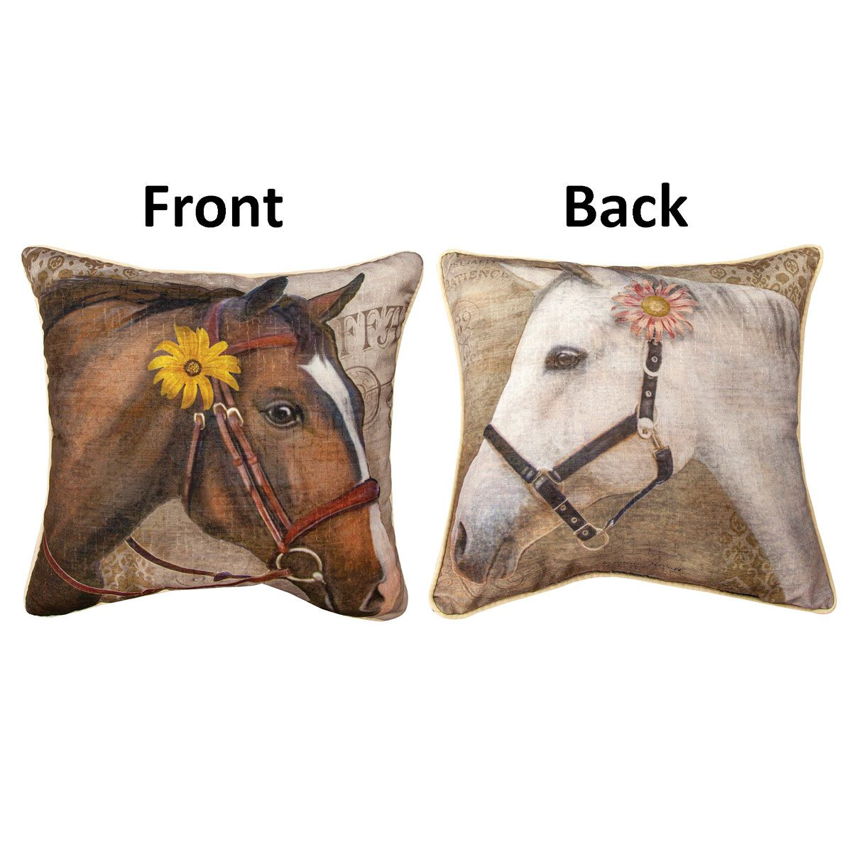 Flower Horse Reversible Accent Pillow