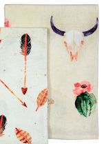 Flowering Cactus & Skulls Tea Towels - Set of 5