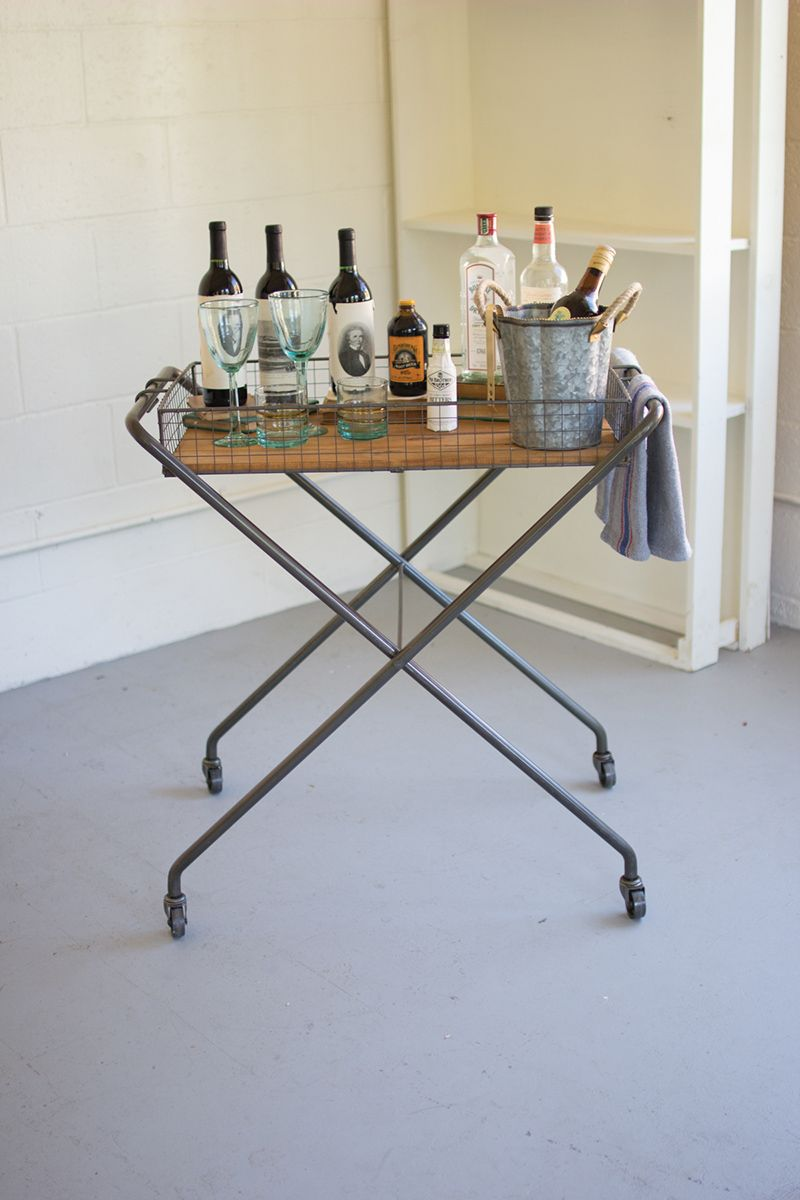 Folding Metal and Wood Tray Table
