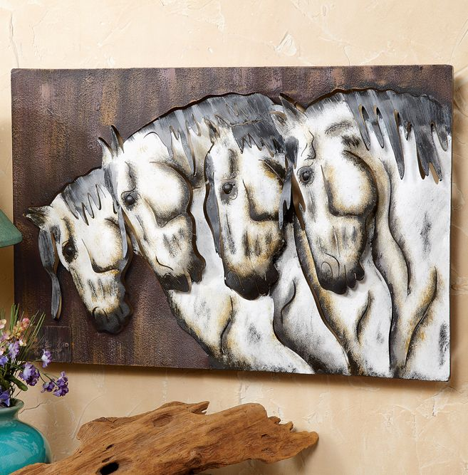 Four Horses Metal Wall Hanging