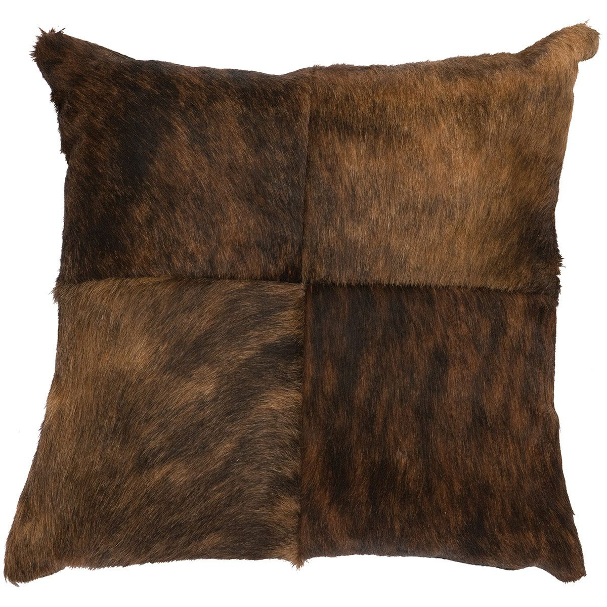 Four Square Dark Brindled Hair on Hide Pillow with Fabric Back