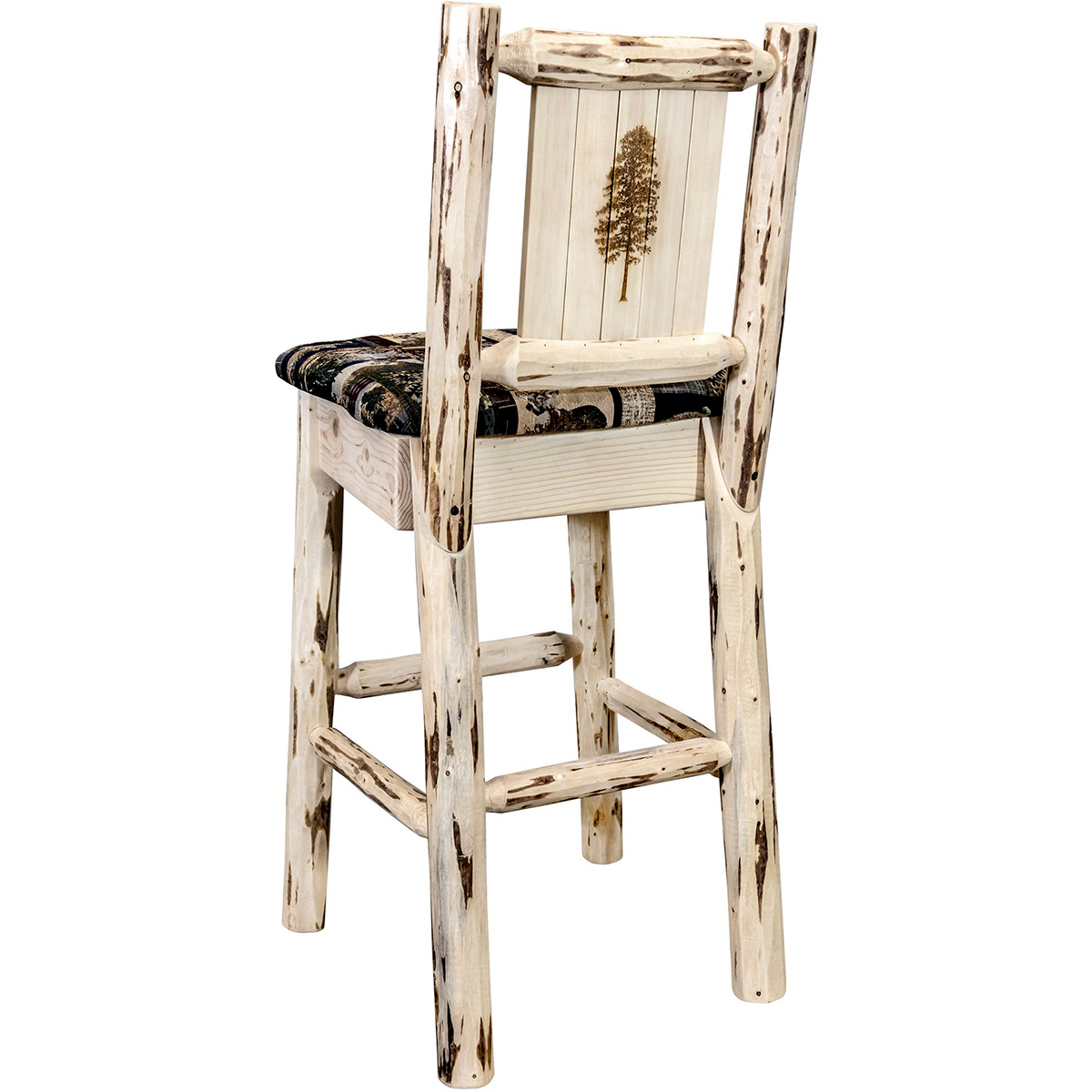 Frontier Barstool with Back & Laser-Engraved Pine Tree Design