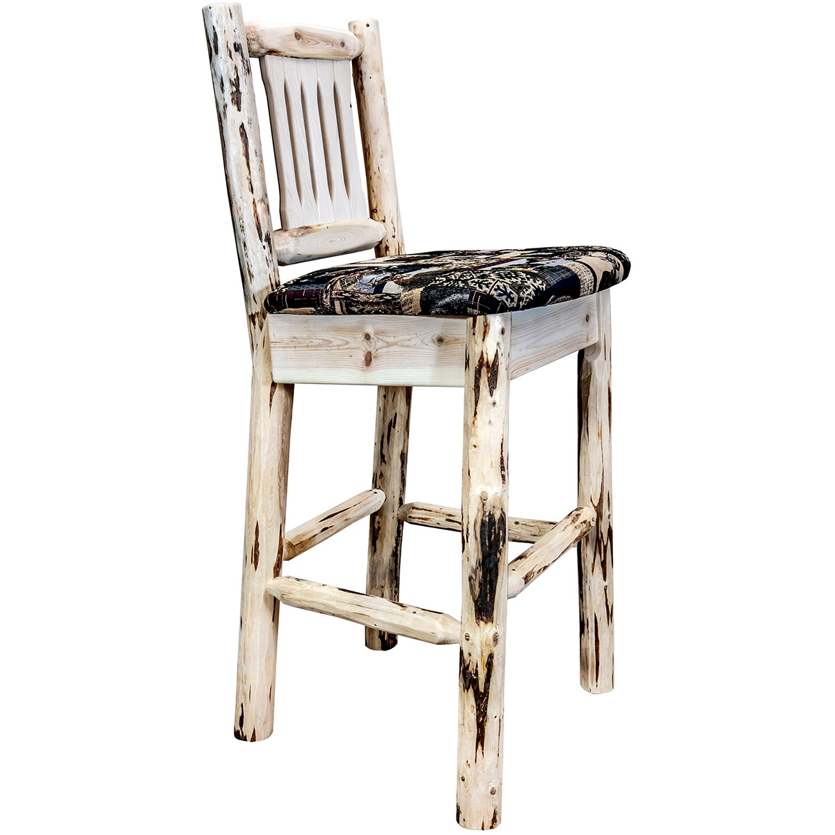 Frontier Barstool with Back & Woodland Upholstered Seat