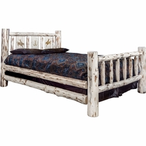 Frontier Bed with Laser-Engraved Bronc Design - Twin