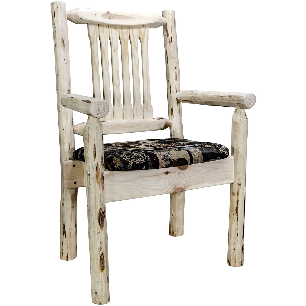 Frontier Captain's Chair with Woodland Upholstered Seat