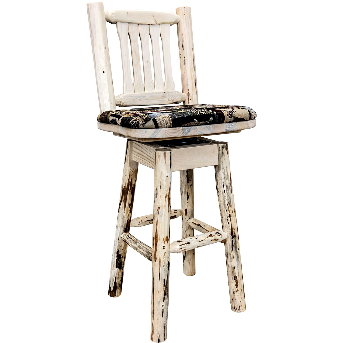 Frontier Counter Stool with Back, Swivel & Woodland Upholstery