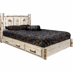 Frontier Platform Bed with Storage & Laser-Engraved Bronc Design