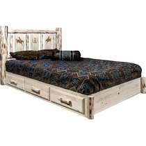 Frontier Platform Bed with Storage & Laser-Engraved Bronc Design - Cal King