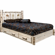 Frontier Platform Bed with Storage & Laser-Engraved Bronc Design - King
