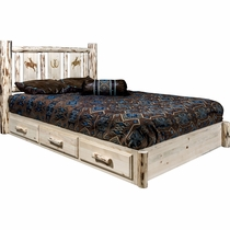 Frontier Platform Bed with Storage & Laser-Engraved Bronc Design - Queen