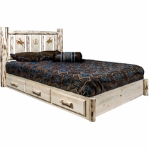 Frontier Platform Bed with Storage & Laser-Engraved Bronc Design - Twin