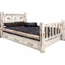 Frontier Storage Bed with Laser-Engraved Bronc Design - Twin