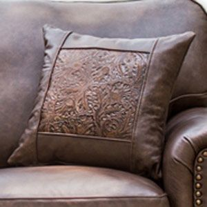 Frontier Untouchable Bandwagon Tooled Leather Throw Pillow
