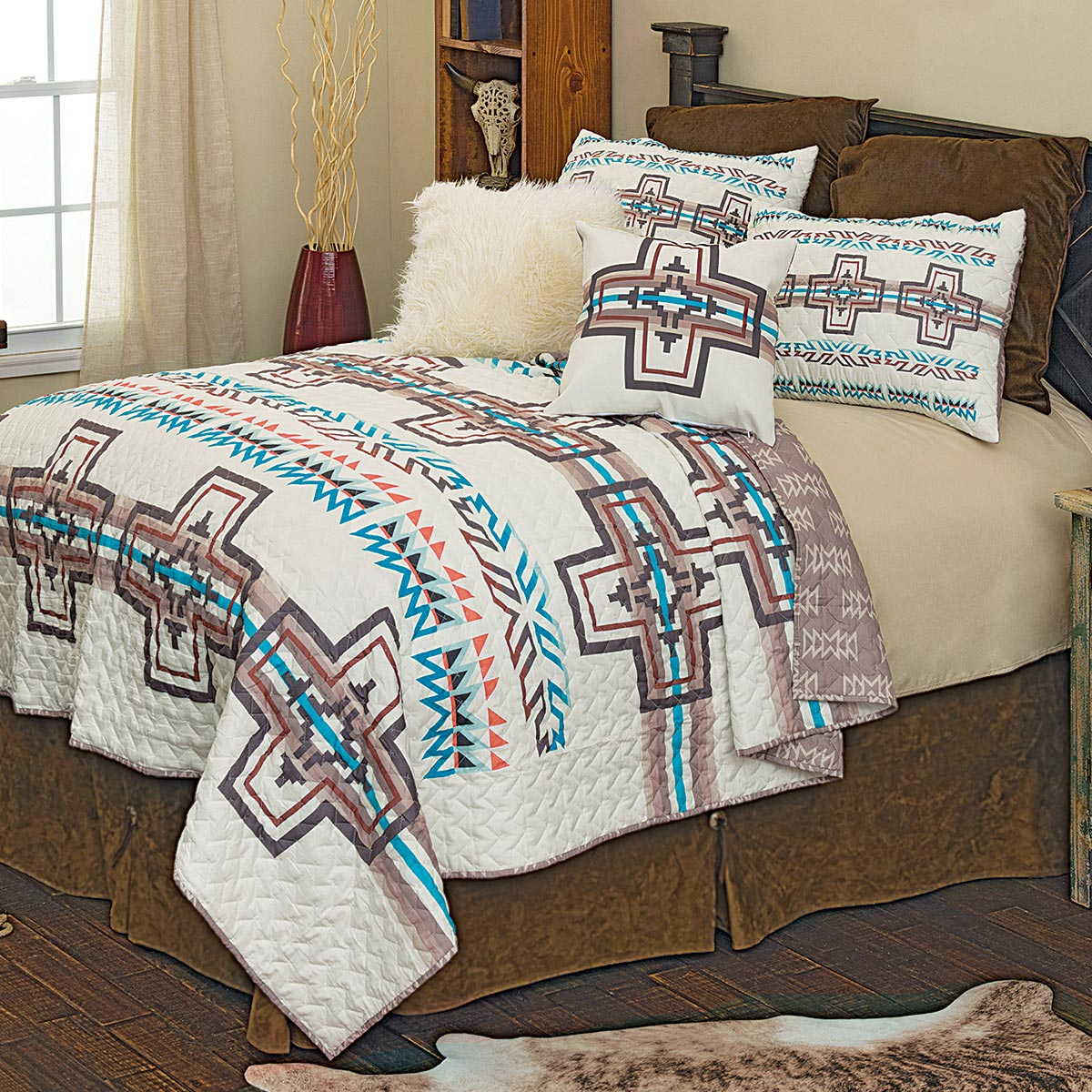 Frost Canyon Cross Quilt Set - Queen