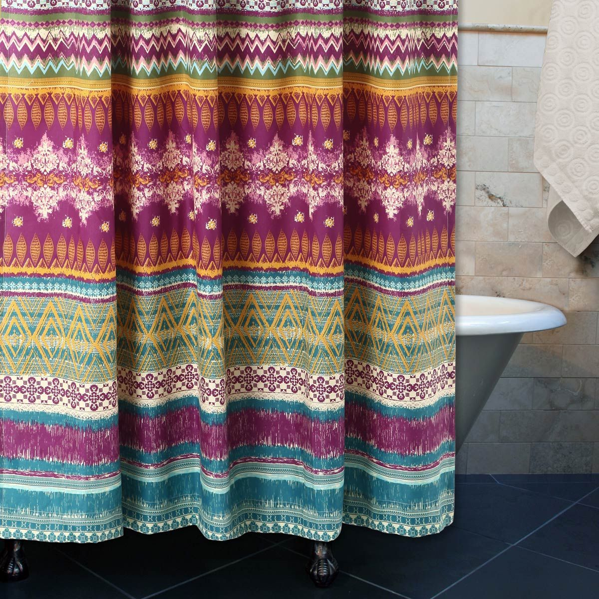 Fuchsia Tribal Shower Curtain