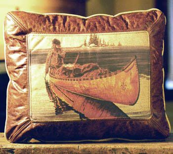 Fur Trapper In Canoe Leather Pillow