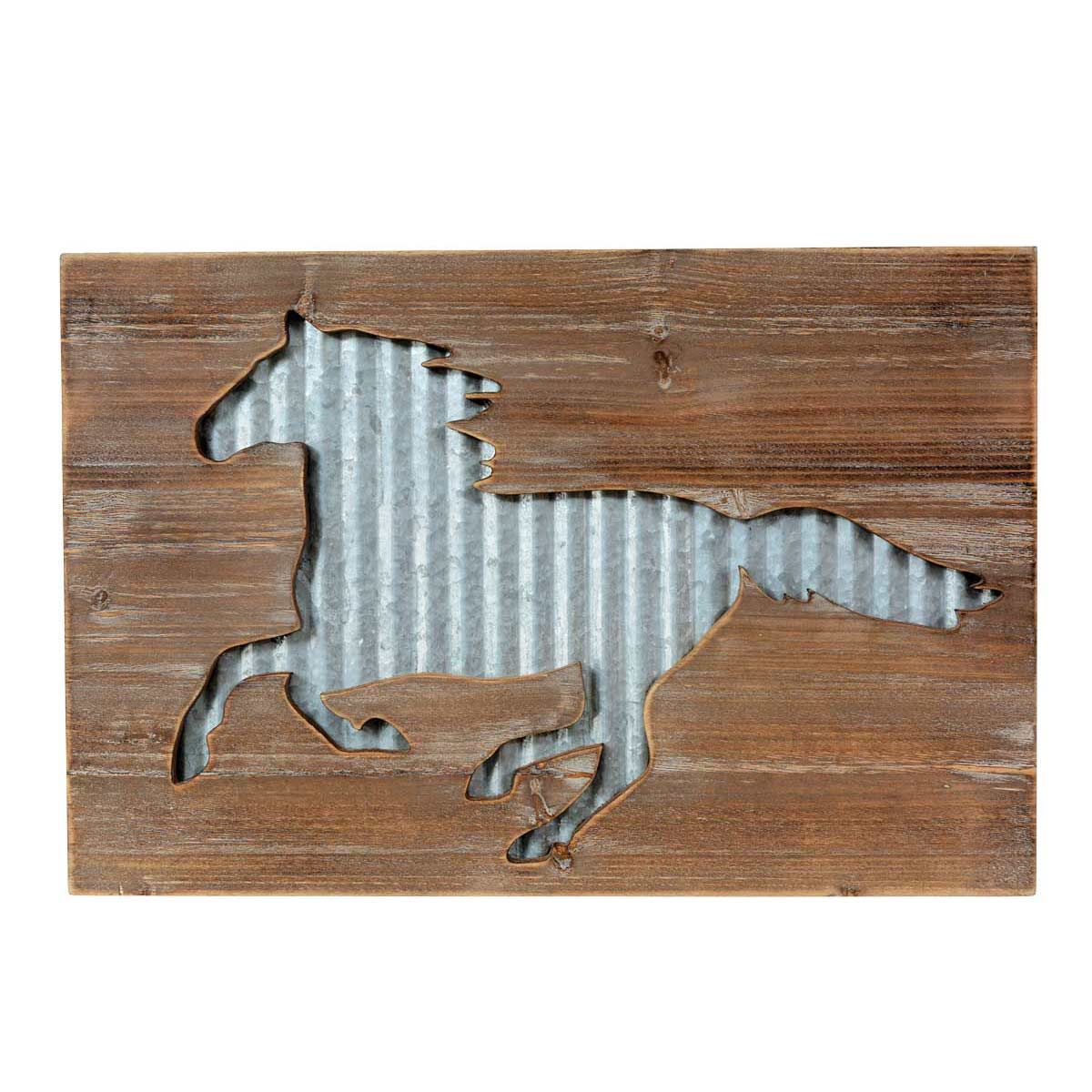 Galloping Horse Corrugated Metal Wall Art