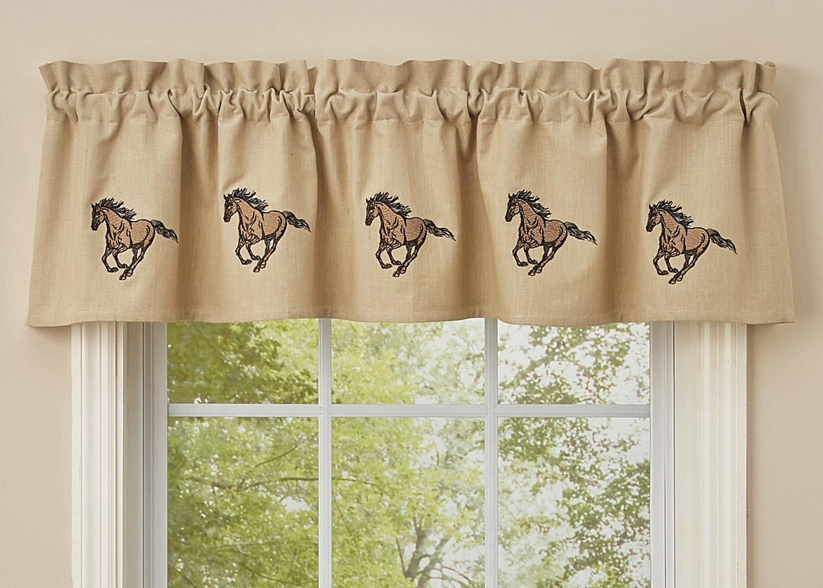 Galloping Horses Embroidered Lined Valance