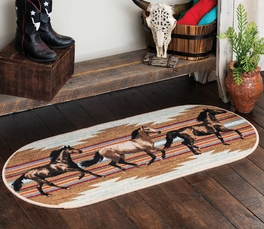 Galloping Horses Oval Rug