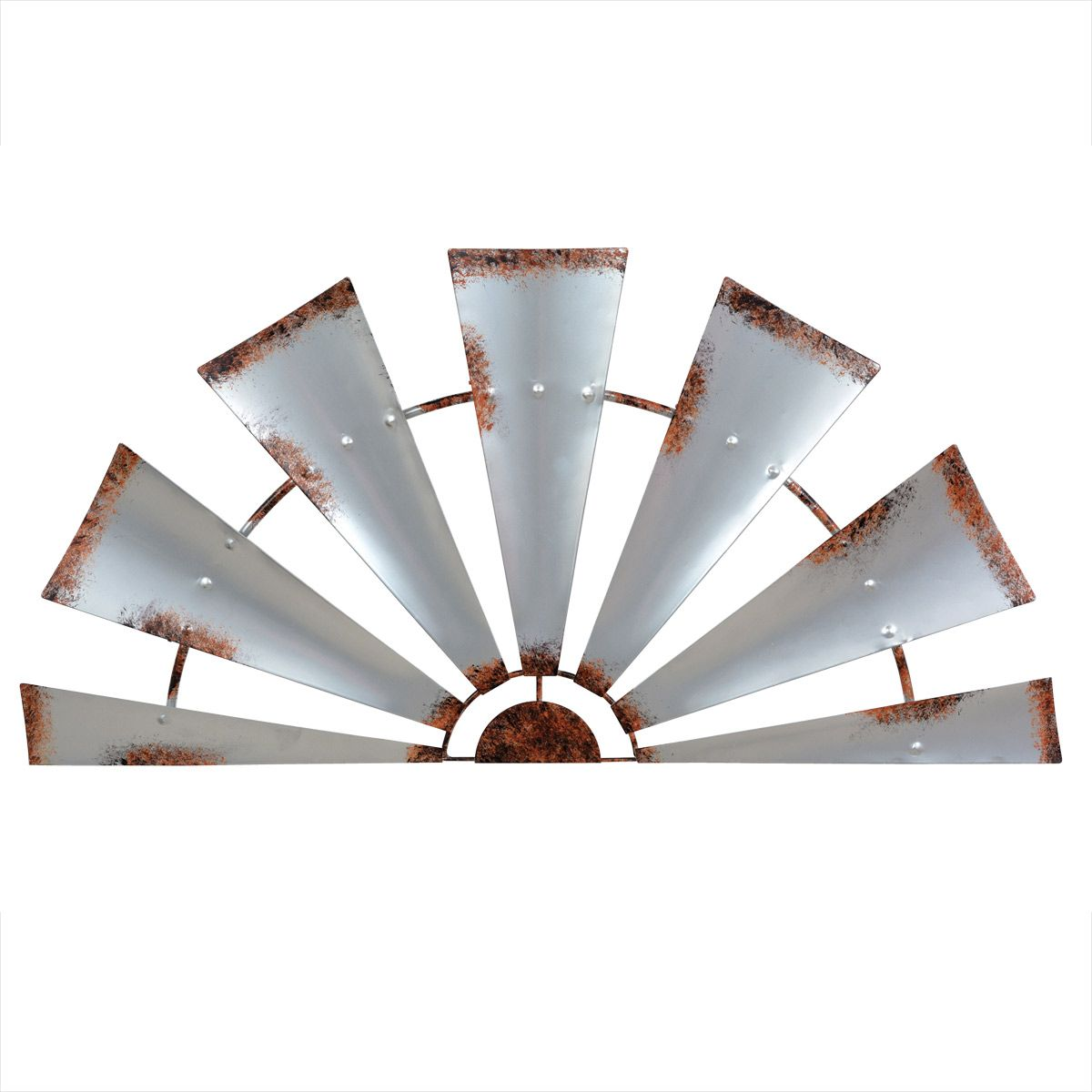 Galvanized Metal Semi Windmill Wall Art