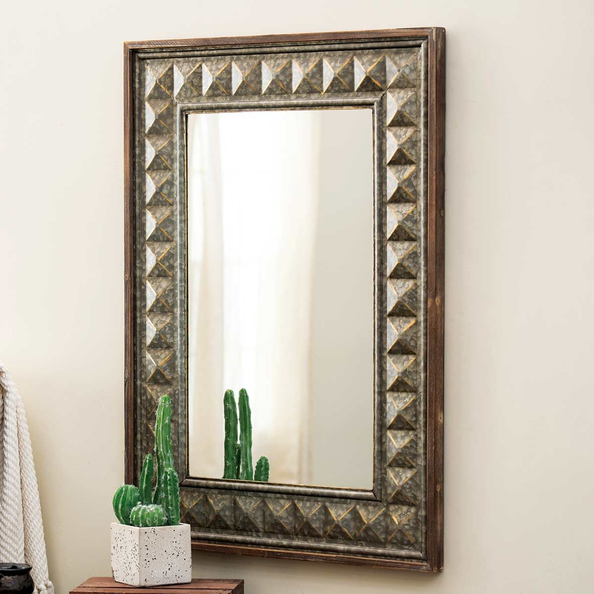 Galvanized Studded Wall Mirror
