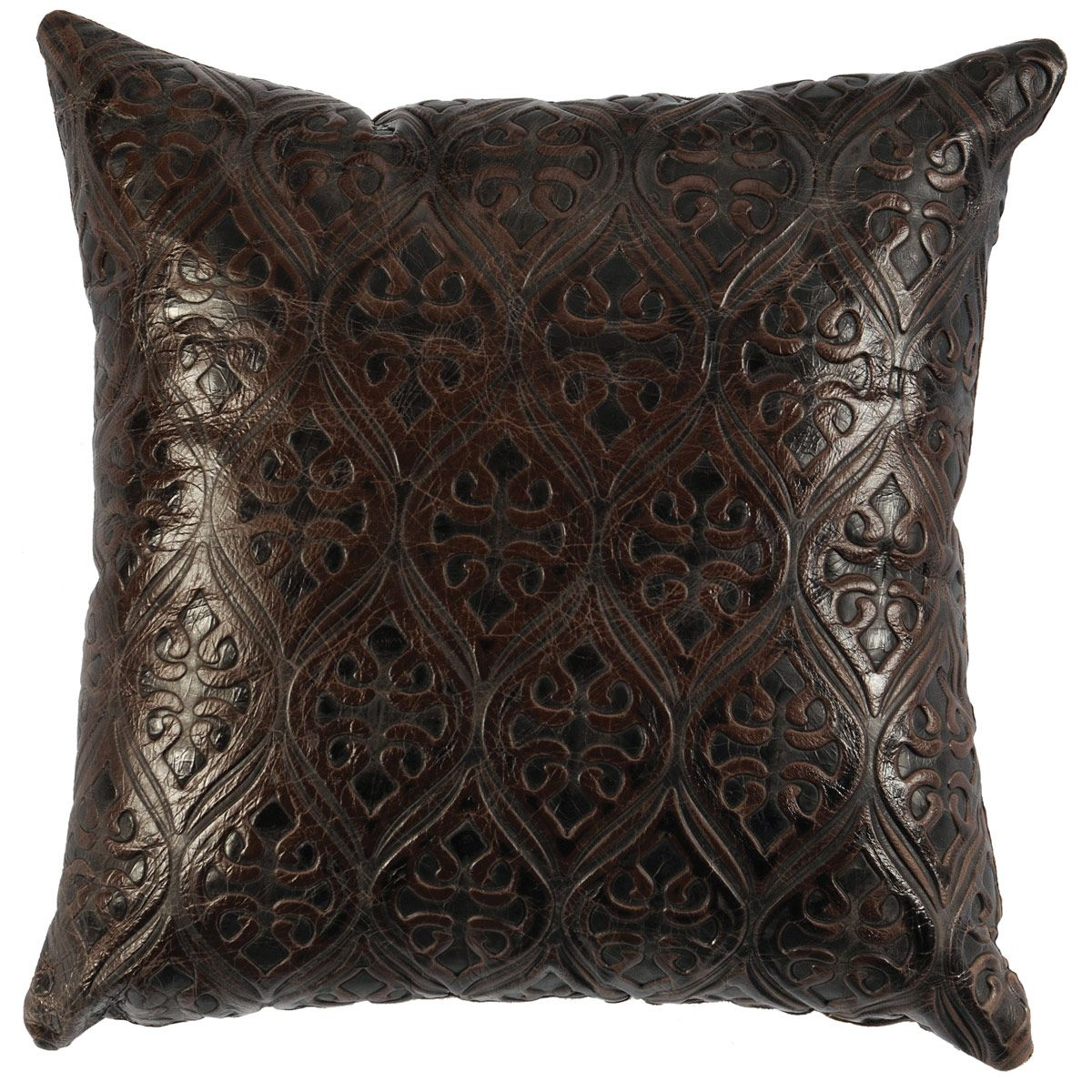 Gateway Embossed Leather Pillow with Fabric Back