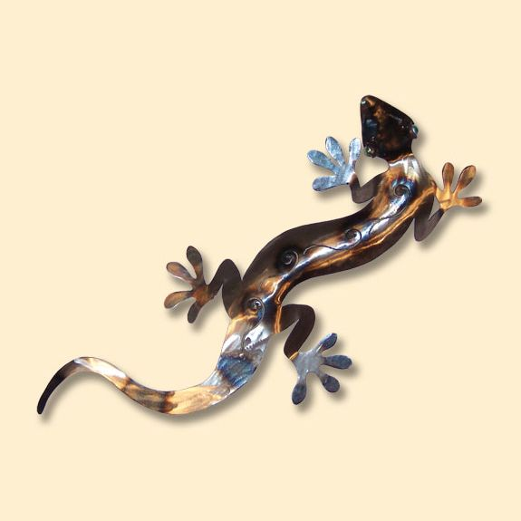Gecko Polished Metal Wall Art
