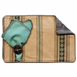 Genghis Camel Placemats with Distressed Leather Back - Set of 4
