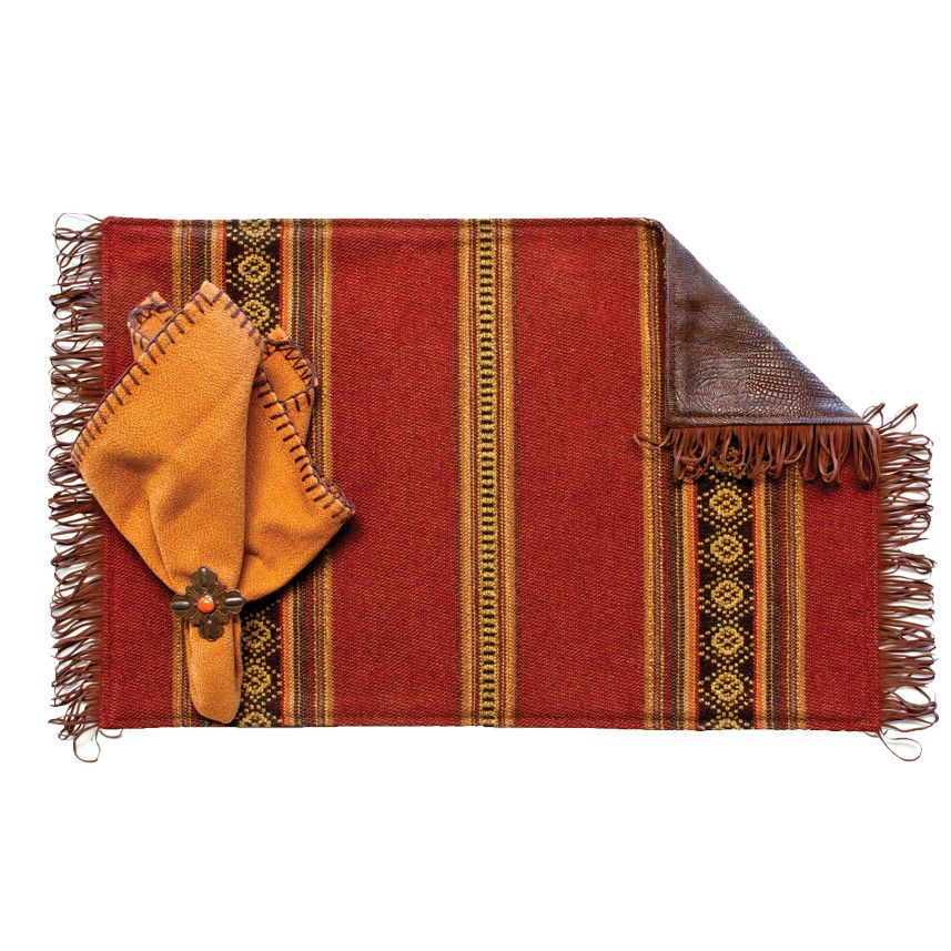 Genghis Red Placemats with Chocolate Fringe & Saddle Back - Set of 4