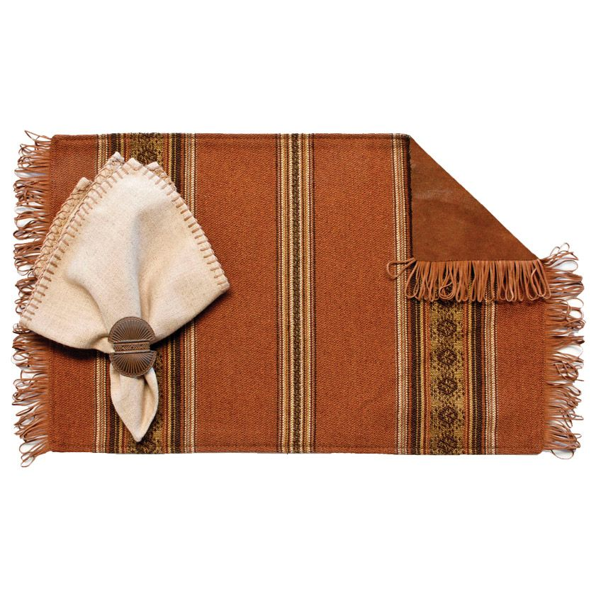 Genghis Rust Placemats with Camel Fringe & Remuda Back - Set of 4