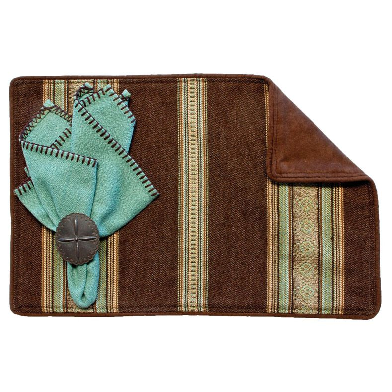 Genghis Teal Placemats with Suave Chocolate Back - Set of 4