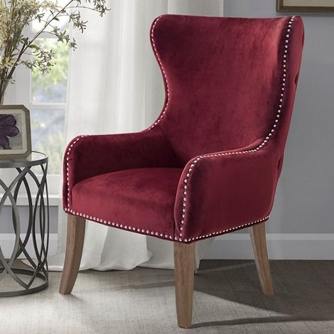 Geoffrey Button Tufted Back Accent Chair Burgundy