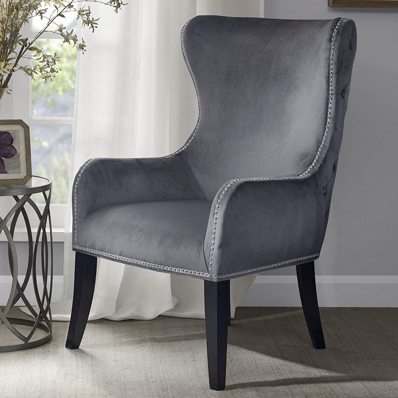 Geoffrey Button - Tufted Back Accent Chair - Gray