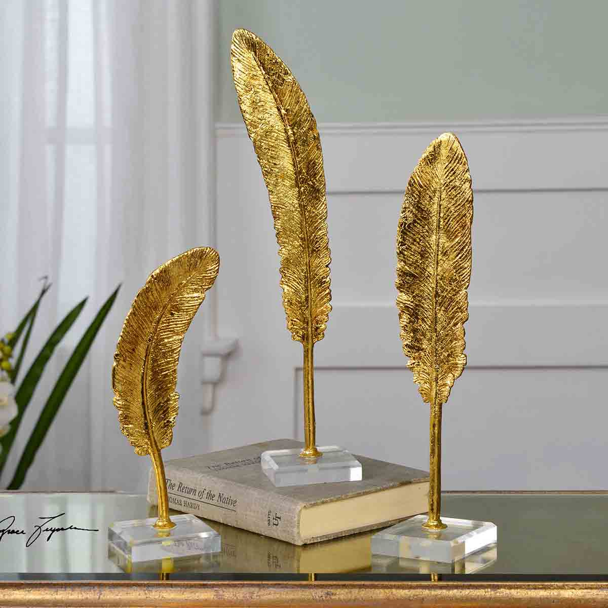 Gold Feather Sculptures - Set of 3
