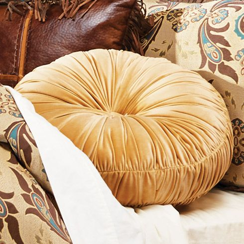 Gold Velvet Round Pillow