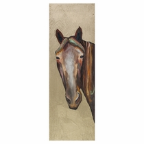 Golden Horse Stare Wall Art - 13 x 39