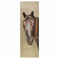 Golden Horse Stare Wall Art