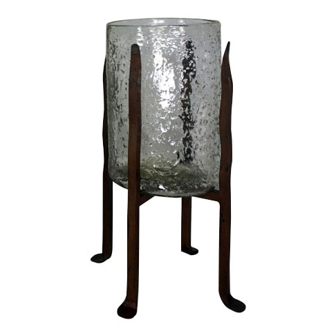 Granulated Clear Glass Cylinder on Tower Base - Medium