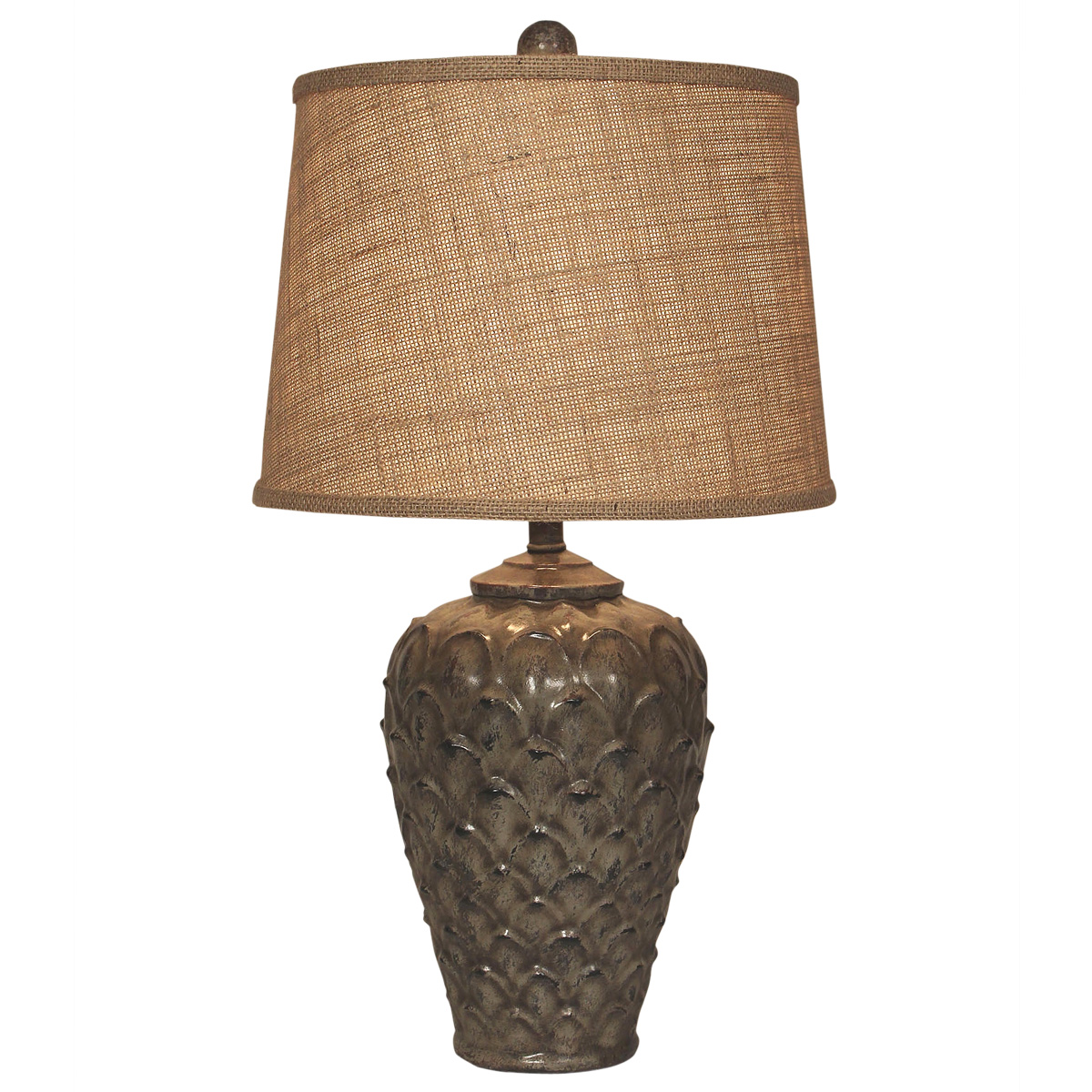 Gray Feather Pot Table Lamp