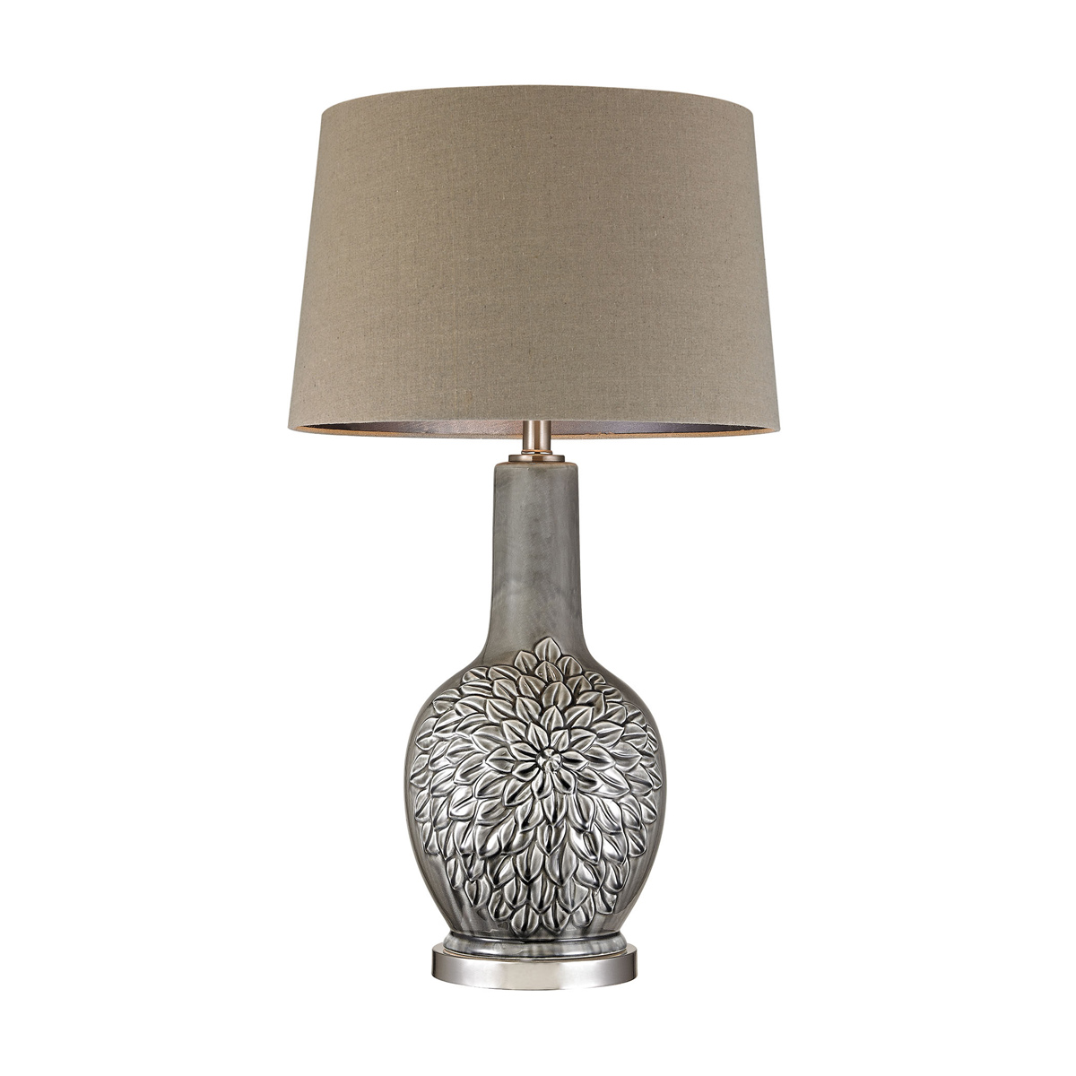 Gray Glazed Floral Lamp