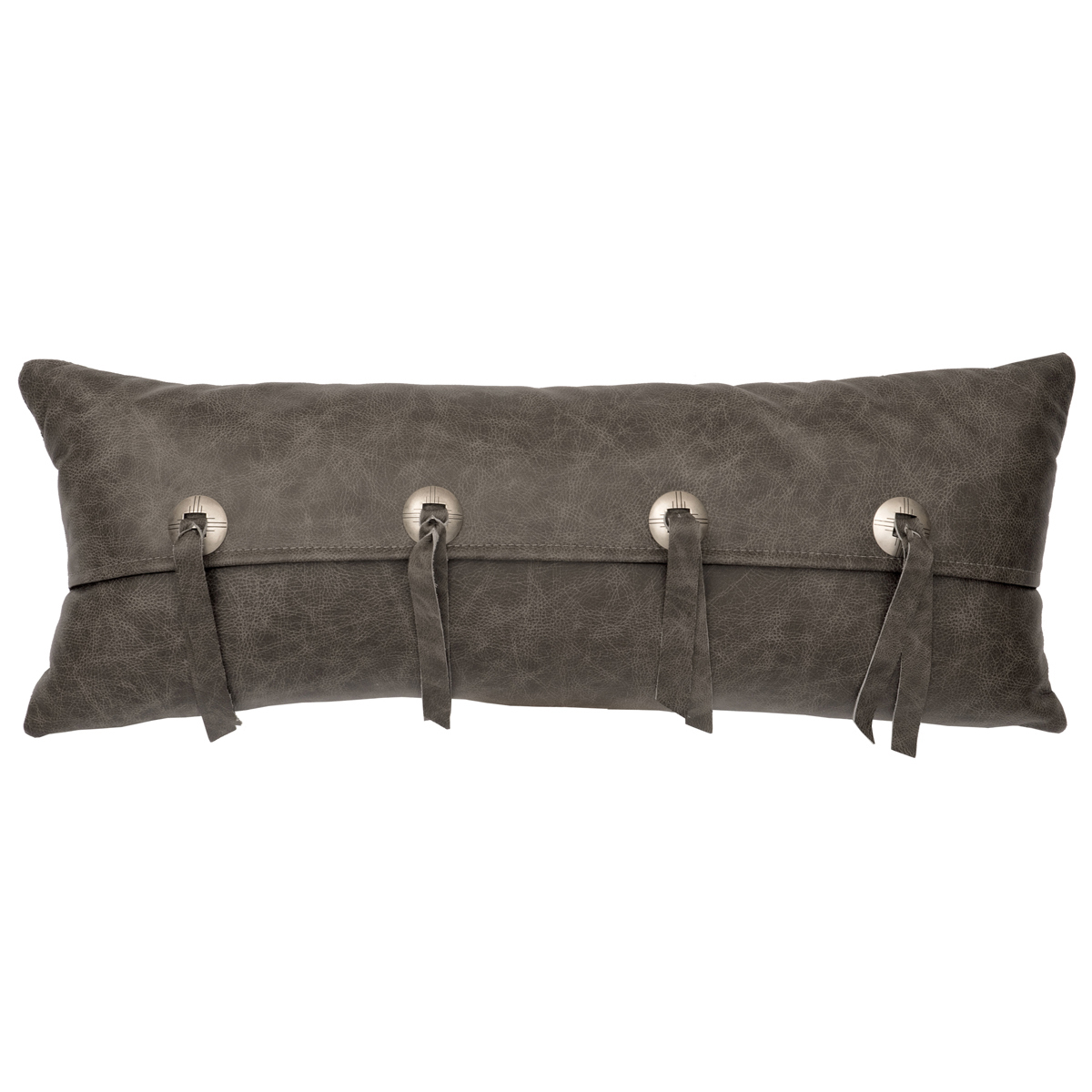 Gray Leather & Conchos Leather Pillow - Leather Back