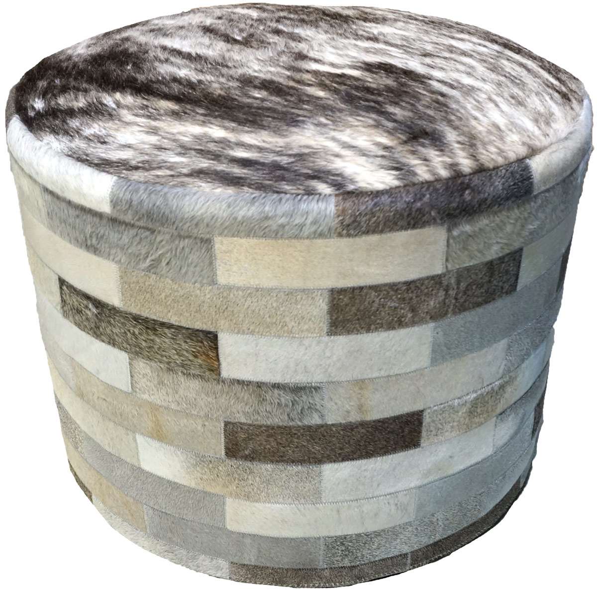 Gray Round Cowhide Ottoman - 24 Inch